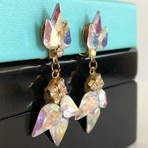 Vintage clip on earrings chandelier rhinestones